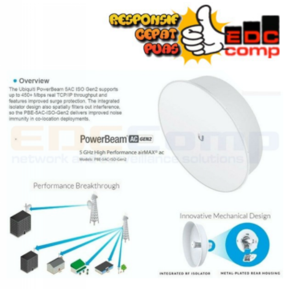 UBIQUITI PBE-5AC-ISO-Gen2 Powerbeam Gen 2 ISO 5GHz AC - EdcComp