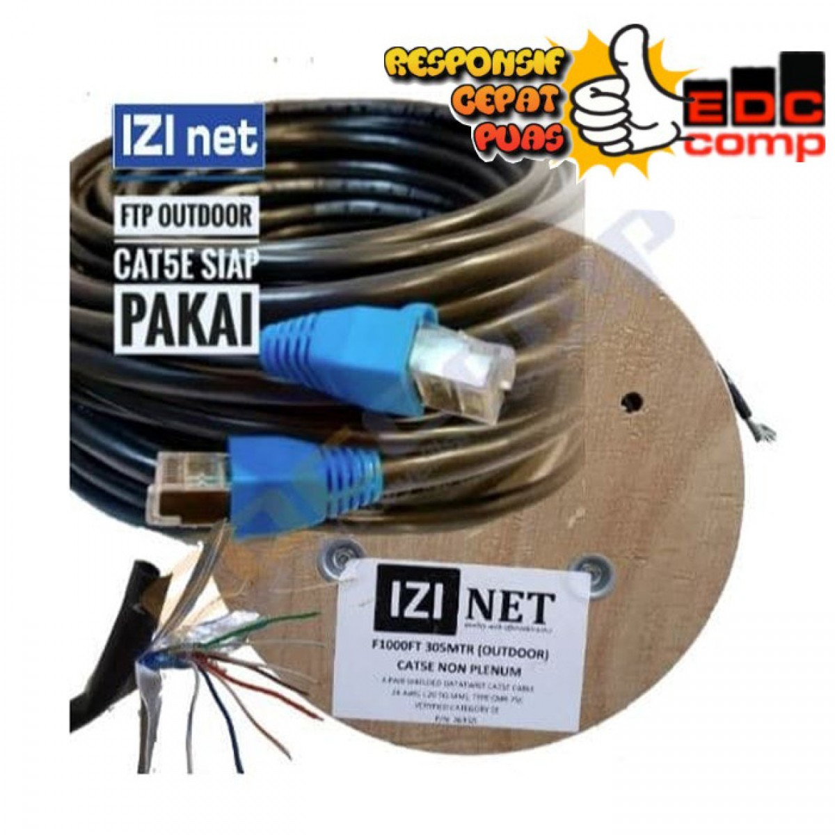 Cable STP/FTP Cat 5e Outdoor Cable 40 Meter IZI net Original - EdcComp
