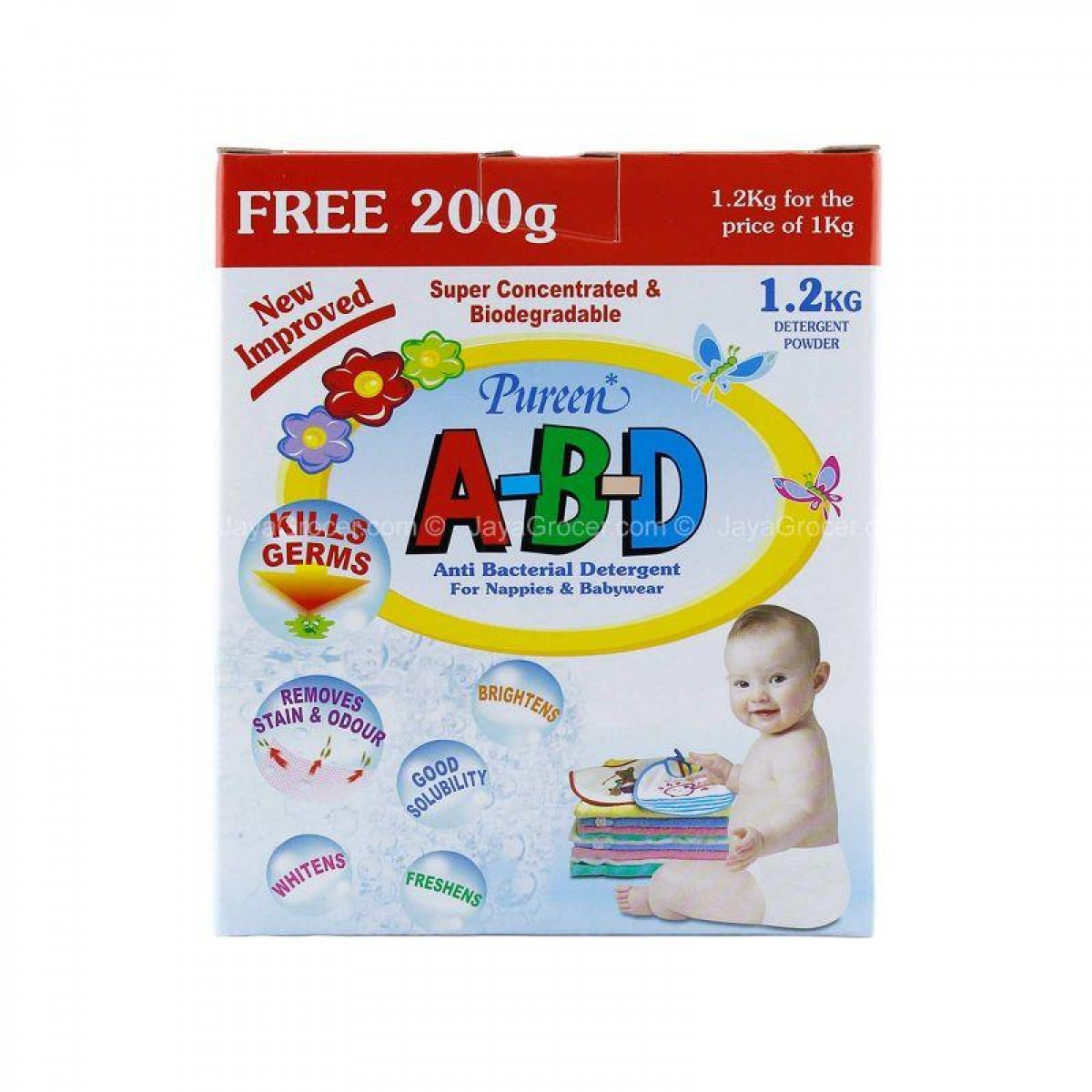 Pureen Abd Anti Bacterial Detergent (1.2kg + Free 200g) - Kico Baby Center