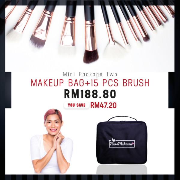 MINI PACKAGE TWO MAKEUP BAG + 15PCS BRUSH - Nana Mahazan Beauty