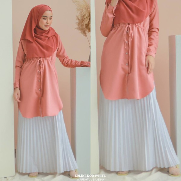 EDELINE PLEATED SKIRT - Wardatul Baydha Hijab