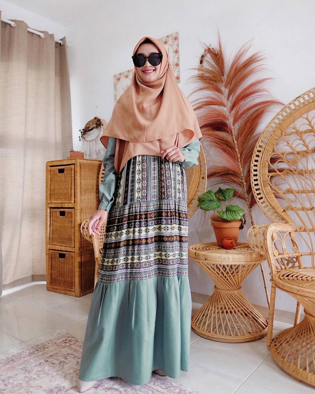 GHANIA ETHNIC DRESS - SAGE GREEN - GDa'S by Ghaida Tsurayya