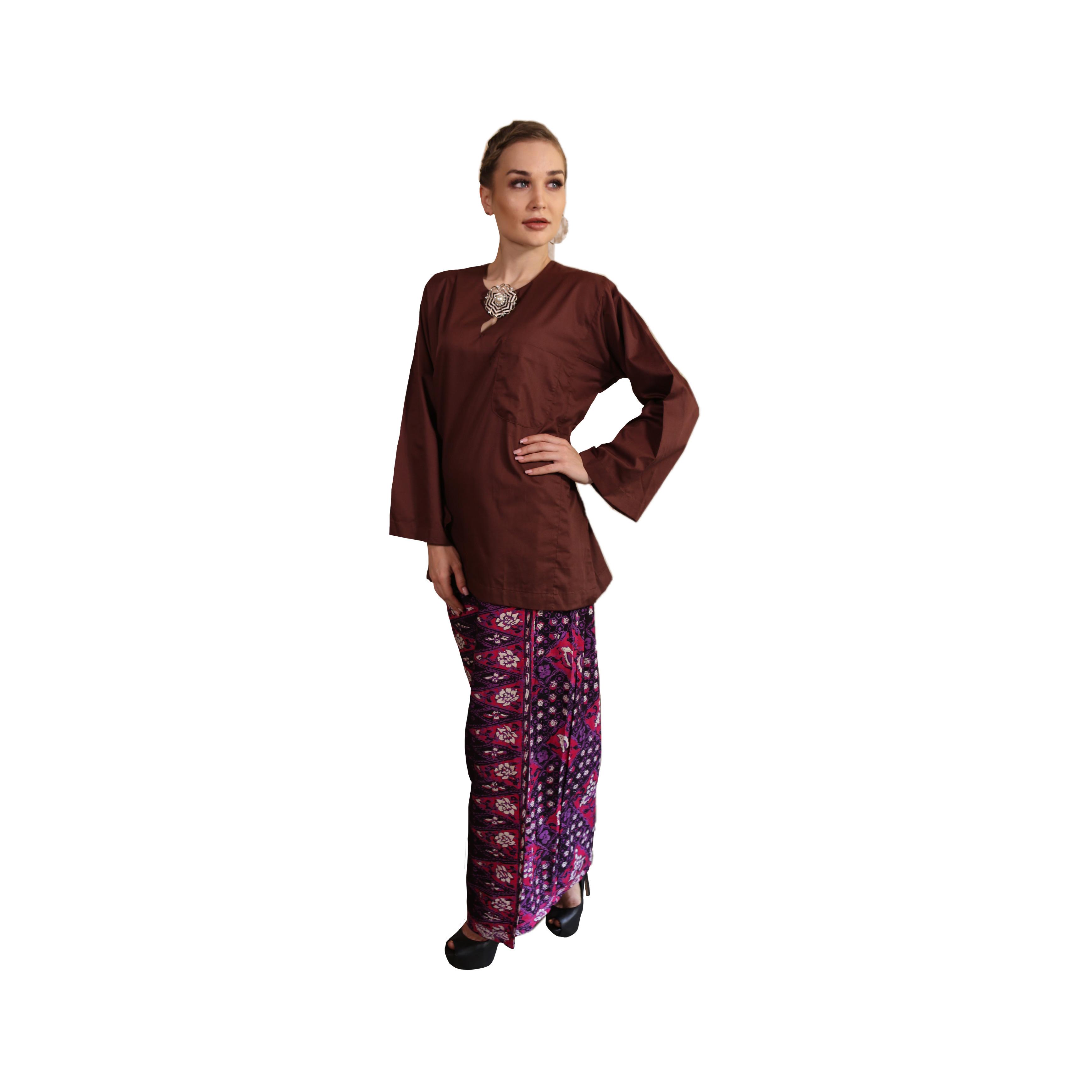 Kurung Kedah Kain Batik Mak Cun (Dark Brown)