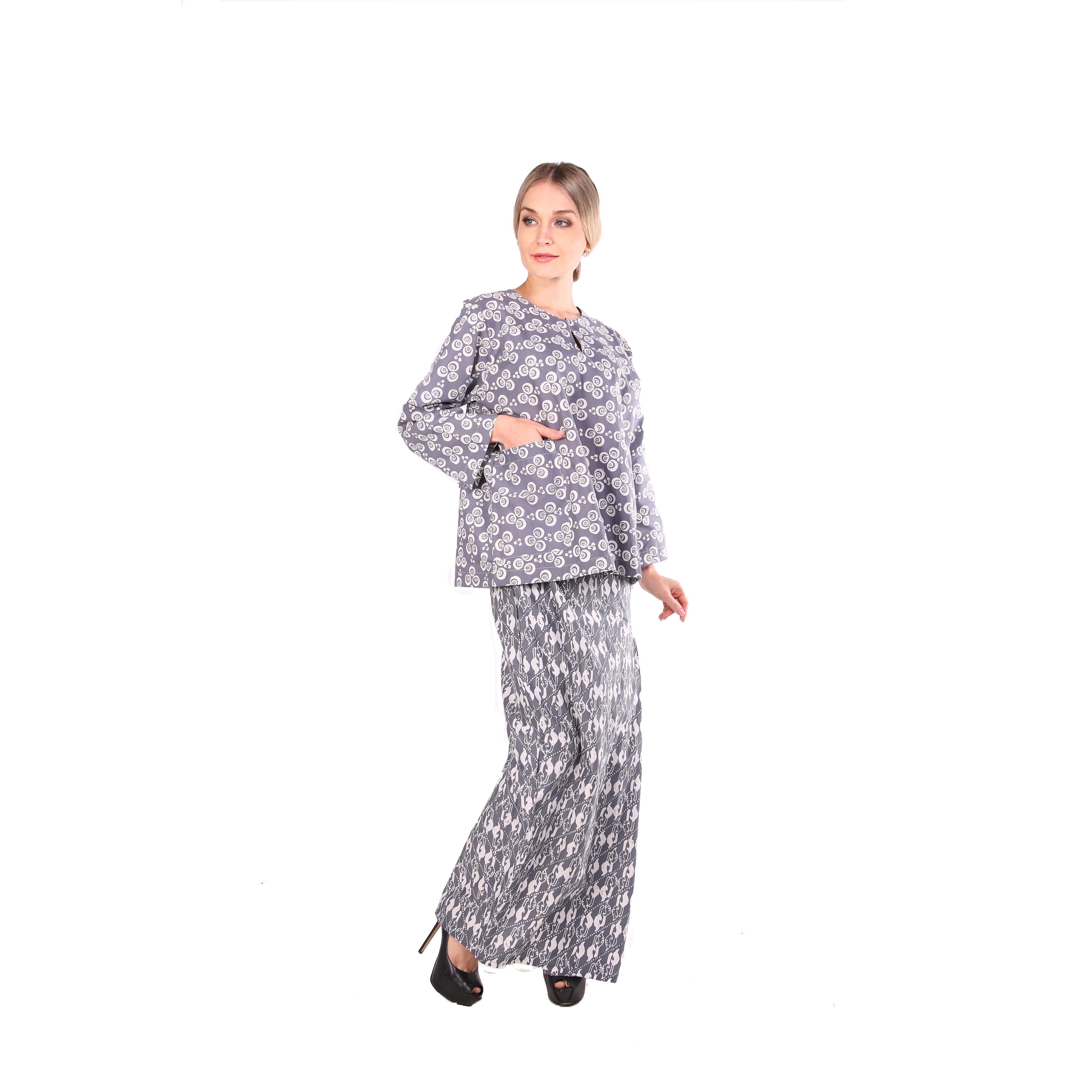 Kurung kedah Full Batik Mak Cun (Grey/Bunga)