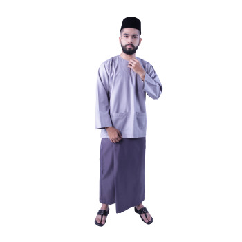 Baju Melayu Nusantara Khalif (Light Grey)