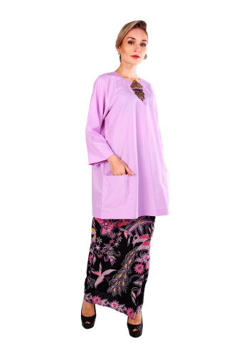 KURUNG CINTA - PURPLE TOP KAIN BATIK
