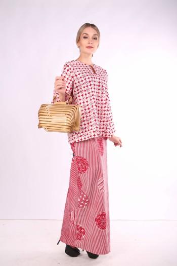 Kurung Kedah Full Batik Mak Cun (Red/bulat)