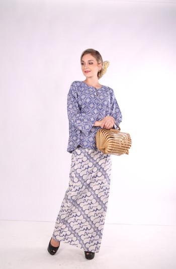 Kurung Kedah Full Batik Mak Cun (Blue/Bunga)