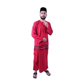 Baju Melayu Nusantara Khalif (Red)