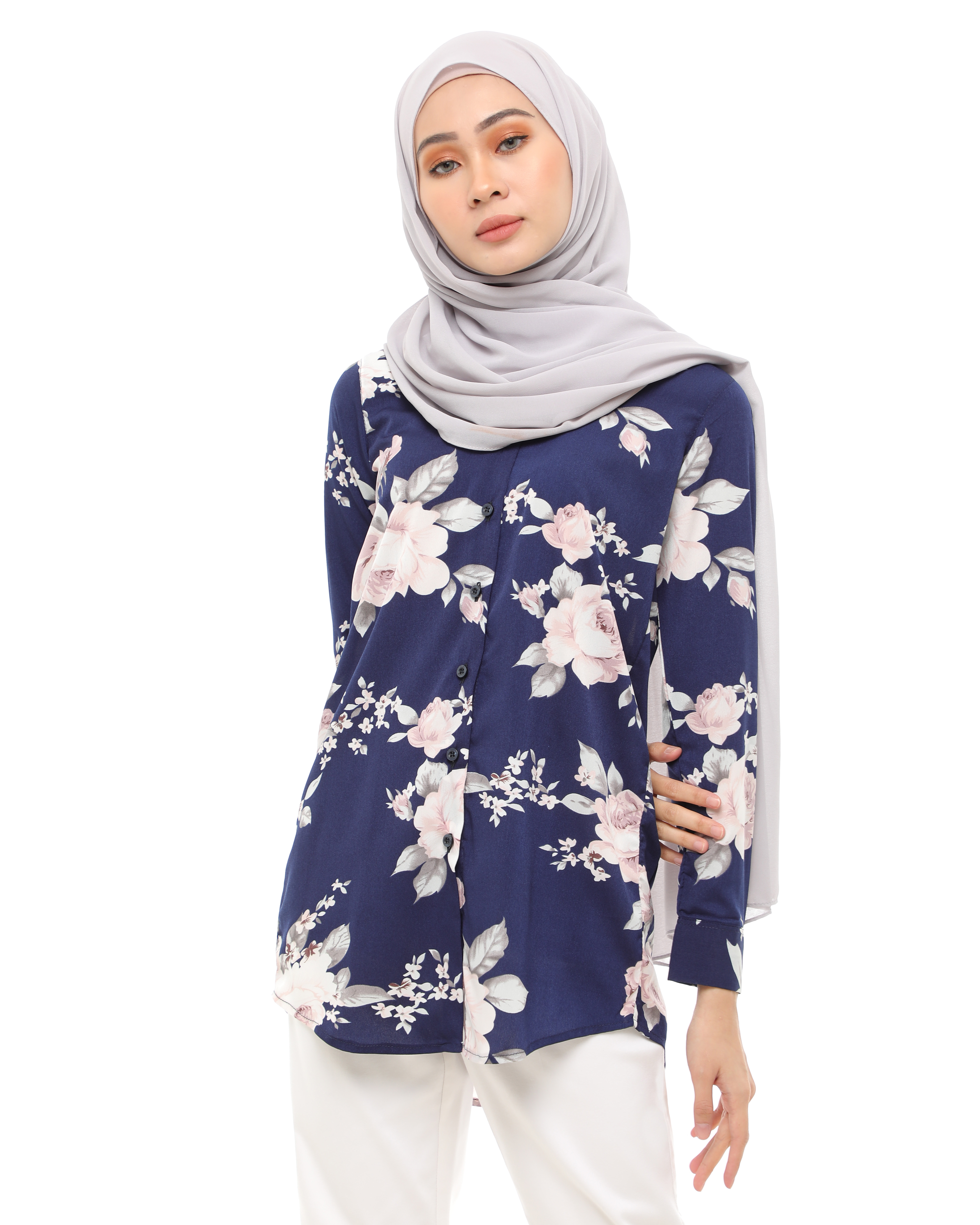 Adriana - Floral Navy Blue