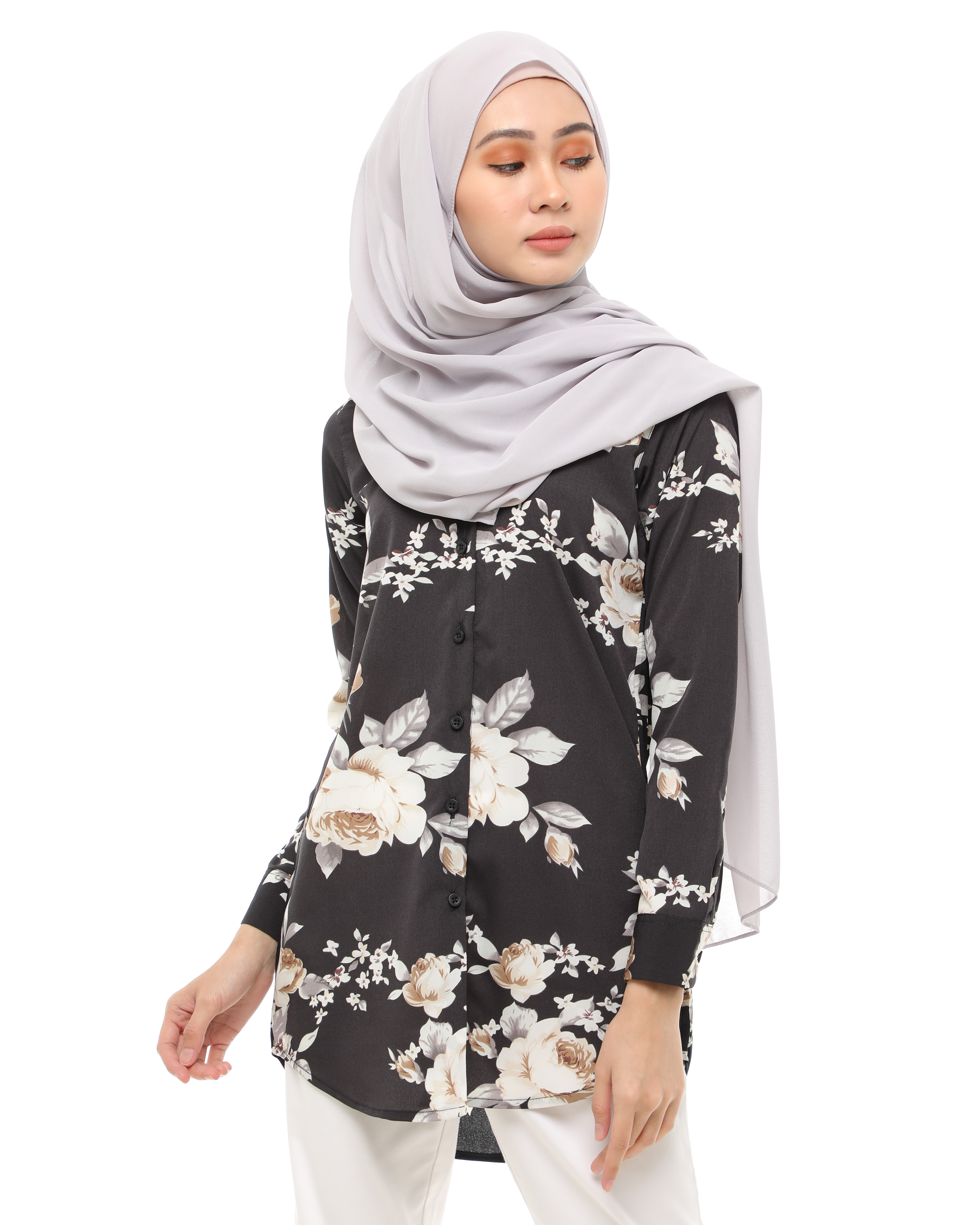 Adriana - Floral Charcoal Black