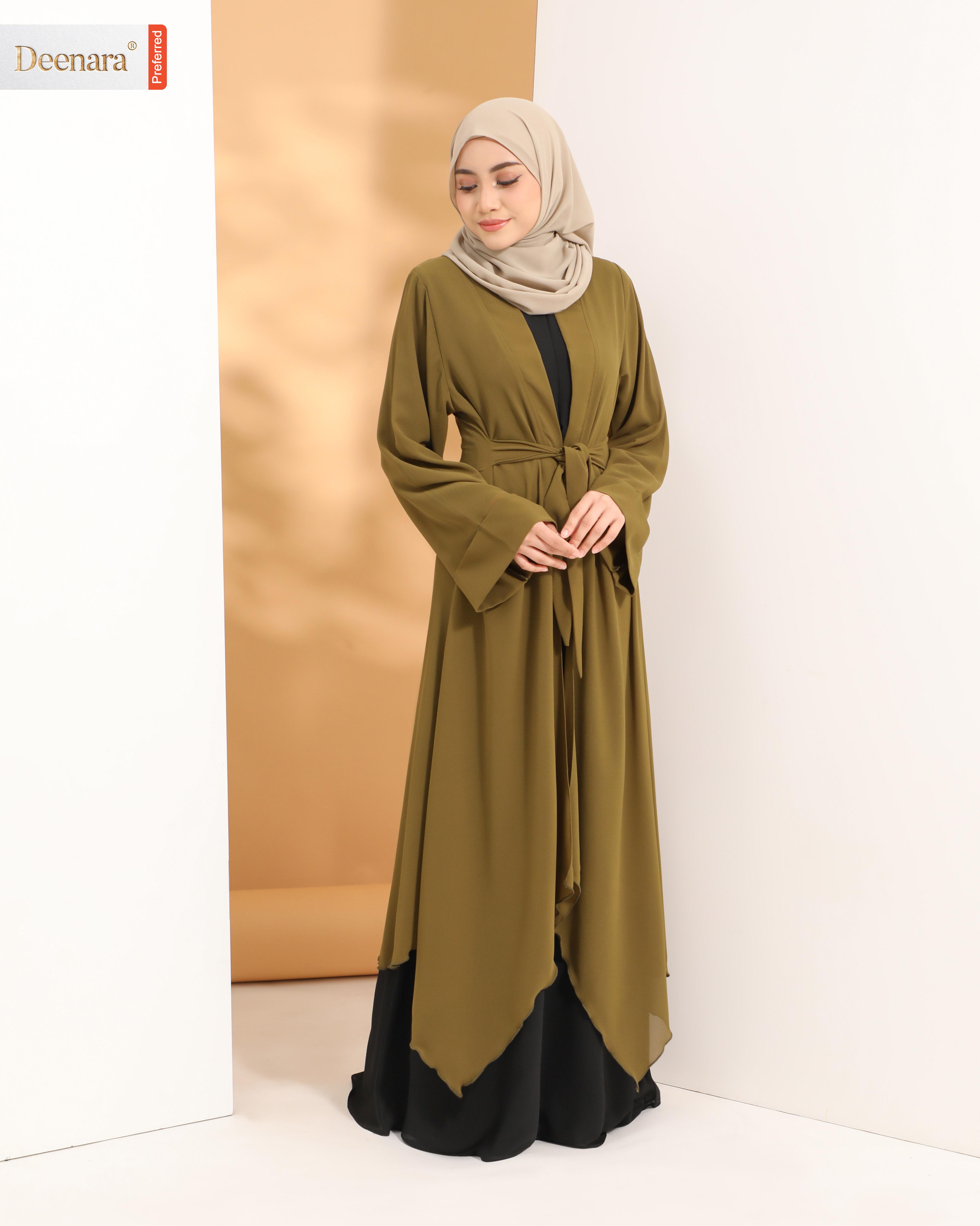 Aafiya Abaya Dress - Black / Moss Green