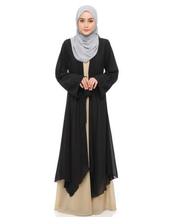 Aafiya Abaya Dress - Black / Khakis