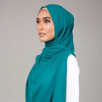 Chiffon Curve Shawl Turquoise Green