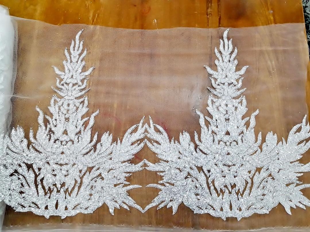 Glitter Border Lace White