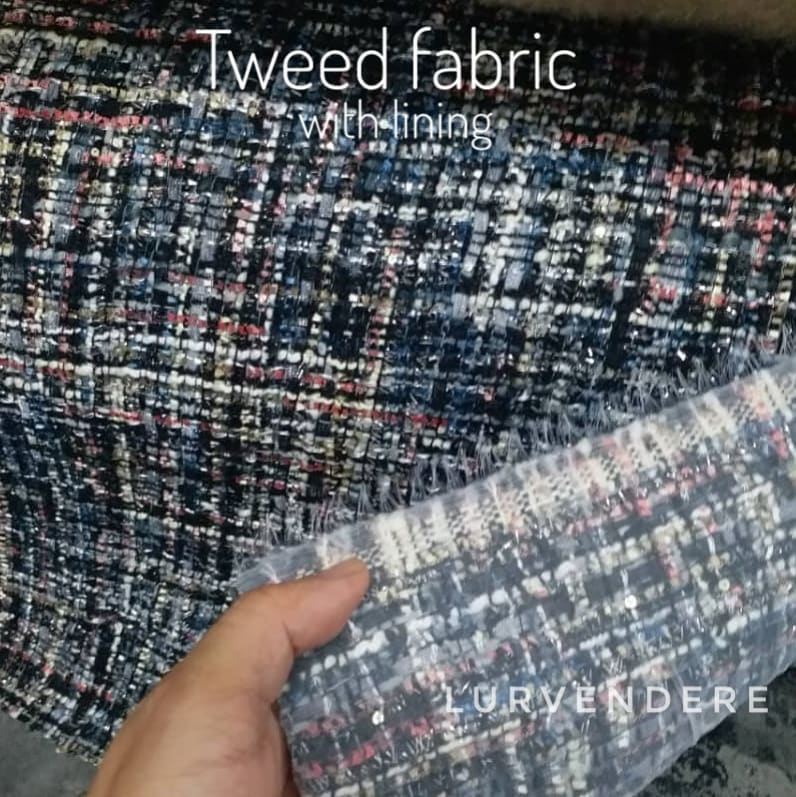 Tweed fabric with lining - Blue black