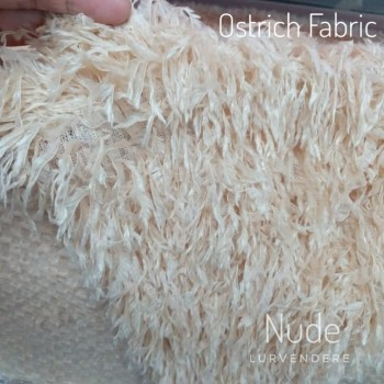 Ostrich Feather Fabric - Nude
