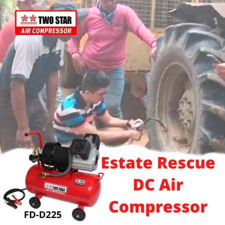 Two Star FD-D225-DC12V 12V Oil Free DC Twin Piston Air Compressor