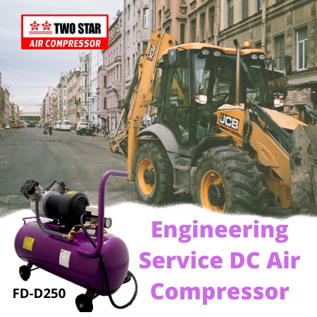 Two Star FD-D250-DC12V 12V Oil Free DC Twin Piston Air Compressor