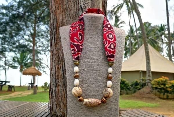 Richa Scarf Necklace with Ceramic Beads  - Manik Heritage