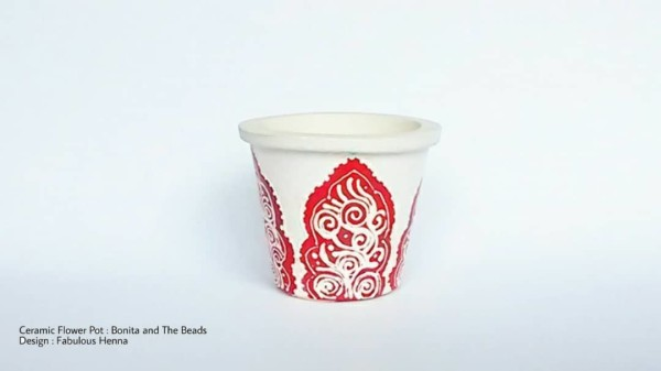 Ceramic Mini Pot with Henna Design - Manik Heritage