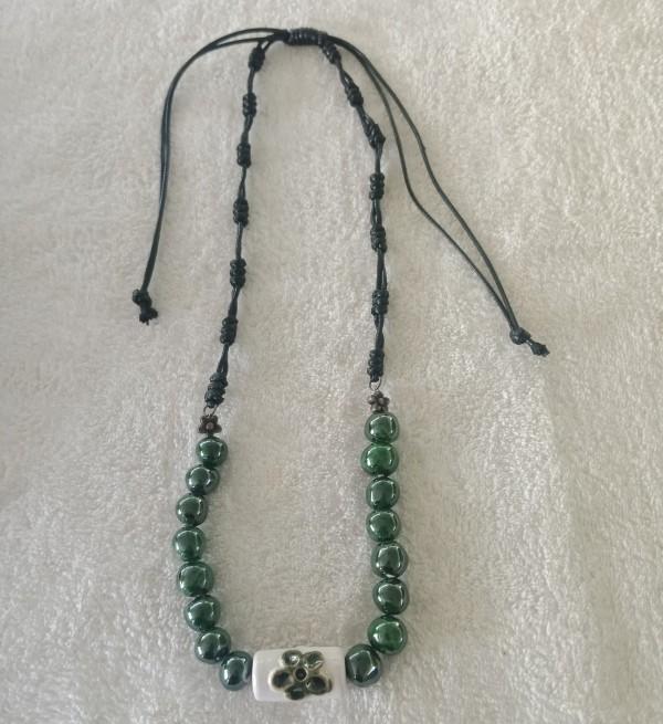 Retro Green Flower Cord Necklace - Manik Heritage