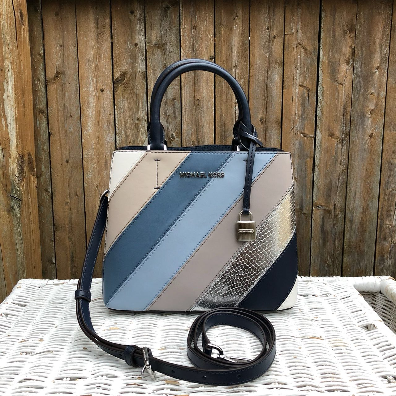 1b7db8f31fde  READY STOCK  Michael Kors Adele Medium Messenger in Navy Denim