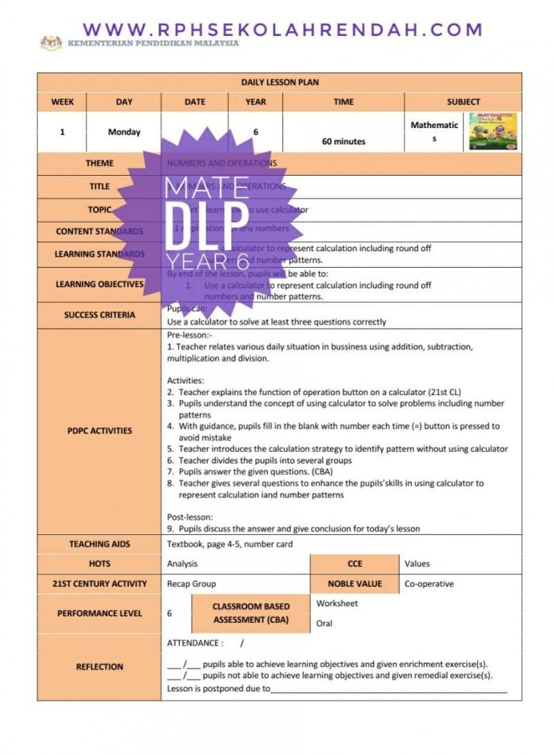 RPH MATHEMATICS YEAR 6 (DLP) 2021
