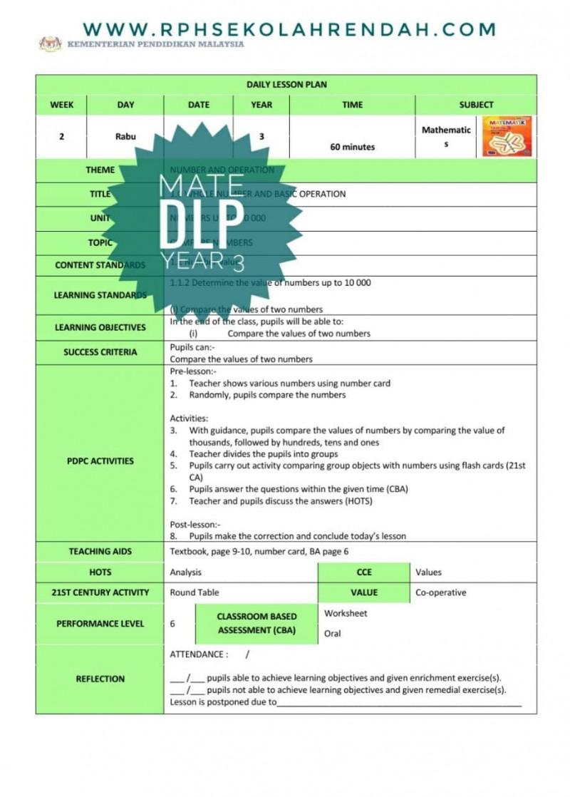 RPH MATHEMATICS YEAR 3 (DLP) 2021