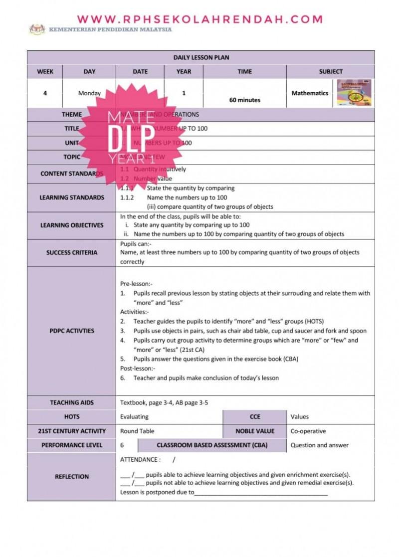 RPH MATHEMATICS YEAR 1 (DLP) 2021