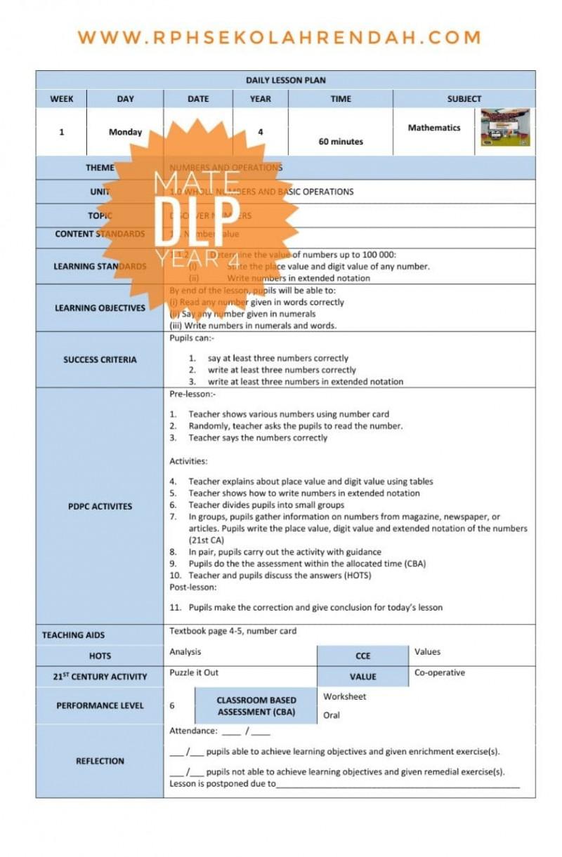 RPH MATHEMATICS YEAR 4 (DLP) 2021