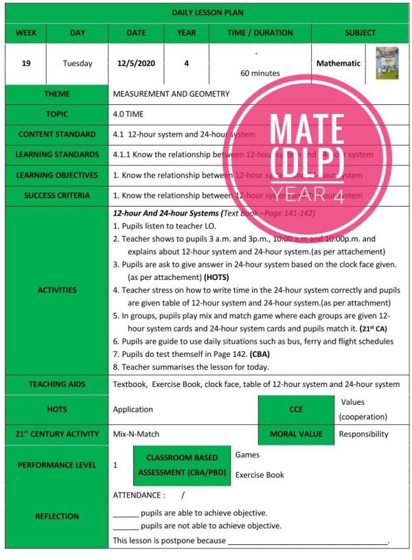 RPH MATHEMATICS YEAR 4 (DLP) - RPH PAK-21 Sekolah Rendah