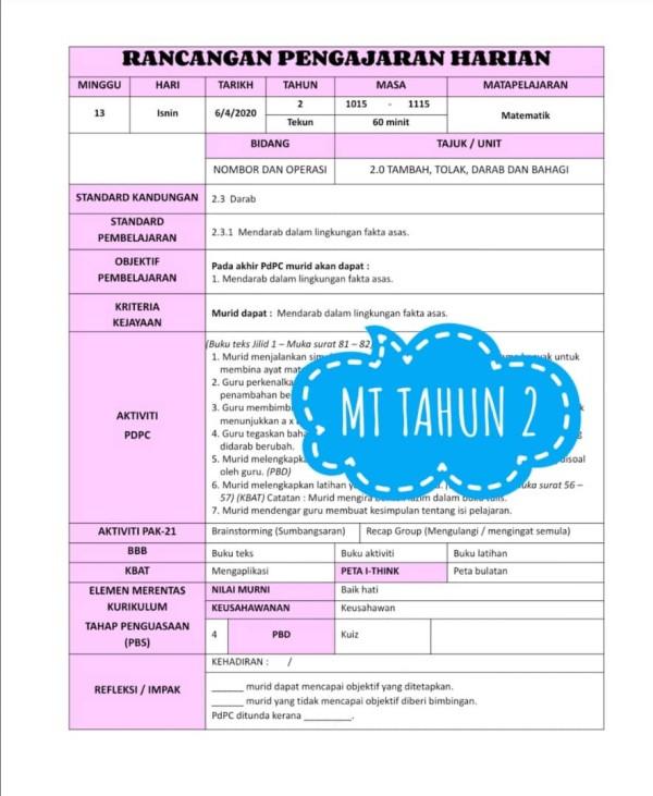 RPH MATEMATIK TAHUN 2 - RPH PAK-21 Sekolah Rendah