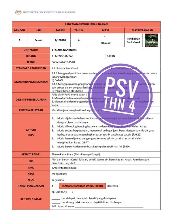 RPH PENDIDIKAN SENI VISUAL TAHUN 4 - RPH PAK-21 Sekolah Rendah