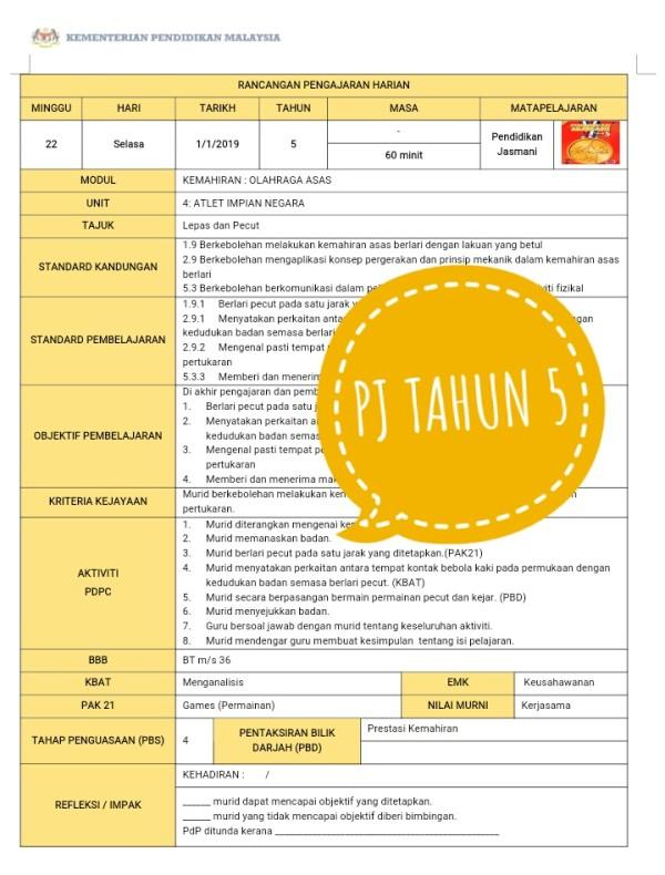 RPH PENDIDIKAN JASMANI THN 5 - RPH PAK-21 Sekolah Rendah