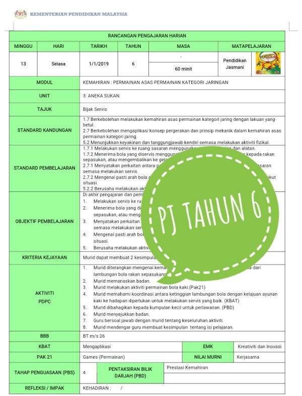 RPH PENDIDIKAN JASMANI THN 6 - RPH PAK-21 Sekolah Rendah