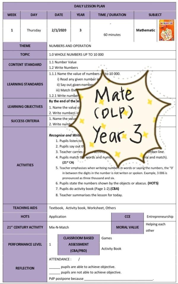RPH MATHEMATICS YEAR 3 (DLP) - RPH PAK-21 Sekolah Rendah