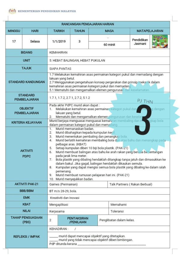RPH PENDIDIKAN JASMANI TAHUN 3 - RPH PAK-21 Sekolah Rendah