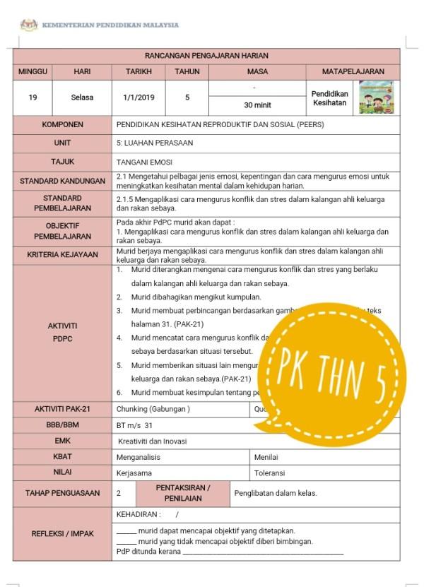 RPH PENDIDIKAN KESIHATAN  TAHUN 5 - RPH PAK-21 Sekolah Rendah