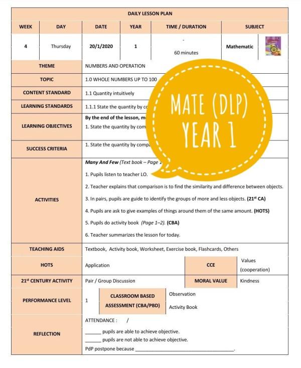 RPH MATHEMATICS YEAR 1 (DLP) - RPH PAK-21 Sekolah Rendah