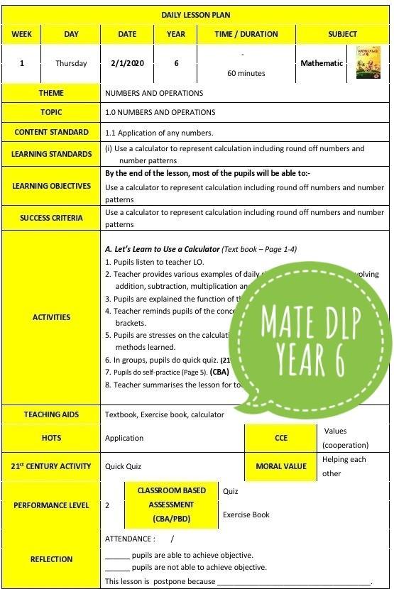 RPH MATHEMATICS YEAR 6 (DLP) - RPH PAK-21 Sekolah Rendah