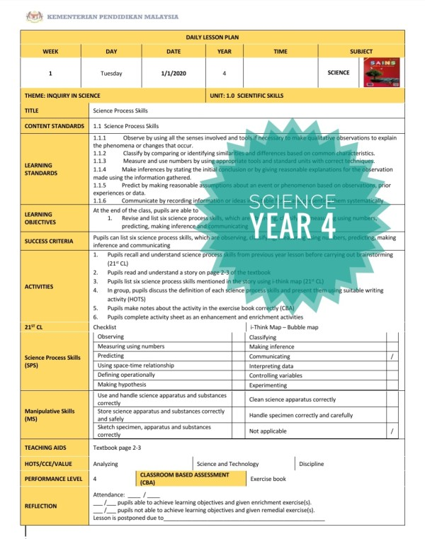 RPH SCIENCE YEAR 4 (DLP)  - RPH PAK-21 Sekolah Rendah