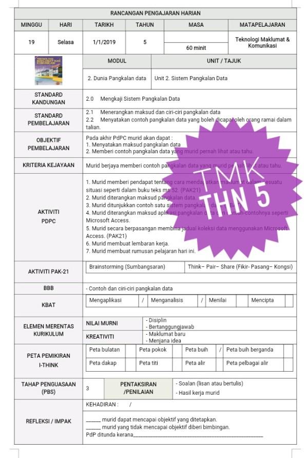 RPH TEKNOLOGI MAKLUMAT DAN KOMUNIKASI TAHUN 5 - RPH PAK-21 Sekolah Rendah