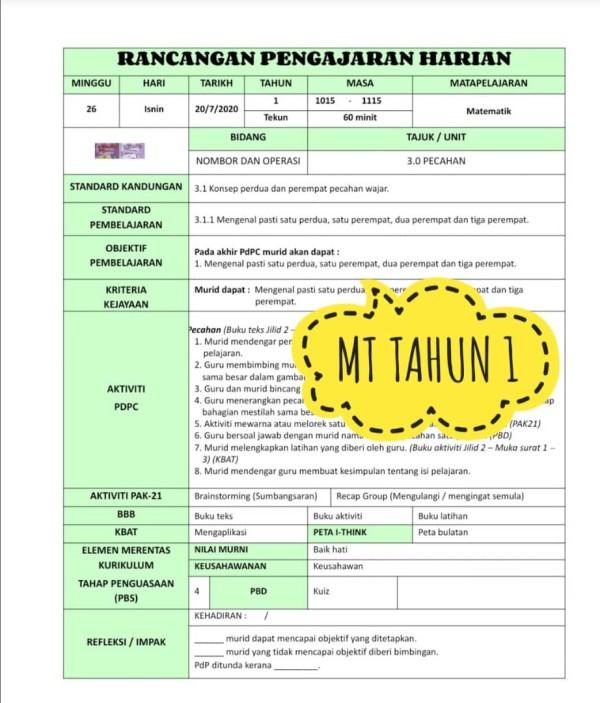 RPH MATEMATIK TAHUN 1 - RPH PAK-21 Sekolah Rendah