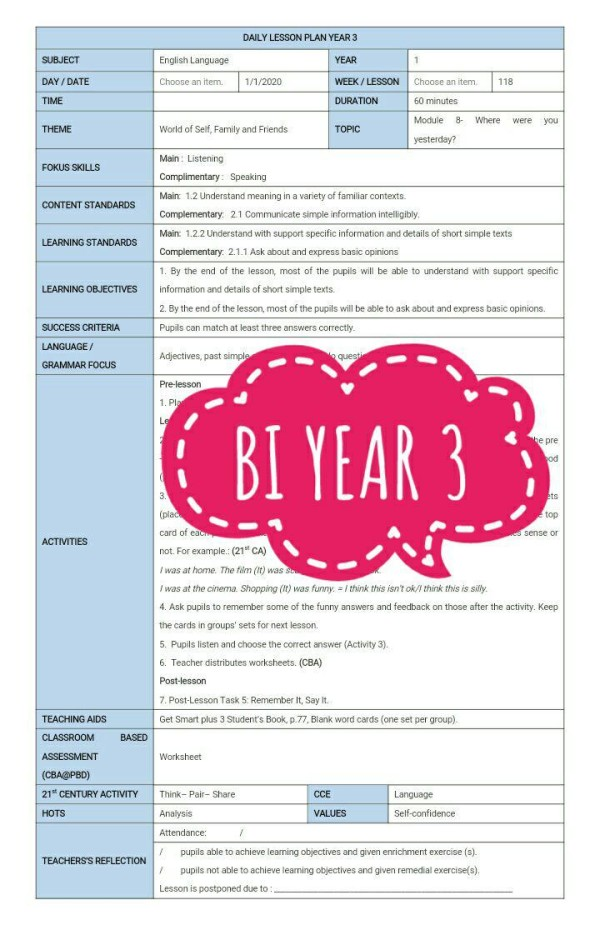 RPH BAHASA INGGERIS TAHUN 3 - RPH PAK-21 Sekolah Rendah