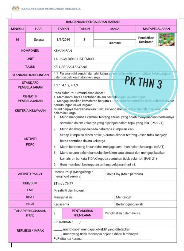 RPH PENDIDIKAN KESIHATAN  TAHUN 3 - RPH PAK-21 Sekolah Rendah