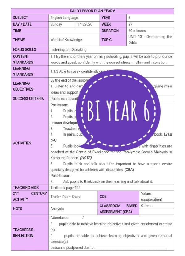 RPH BAHASA INGGERIS TAHUN 6 - RPH PAK-21 Sekolah Rendah