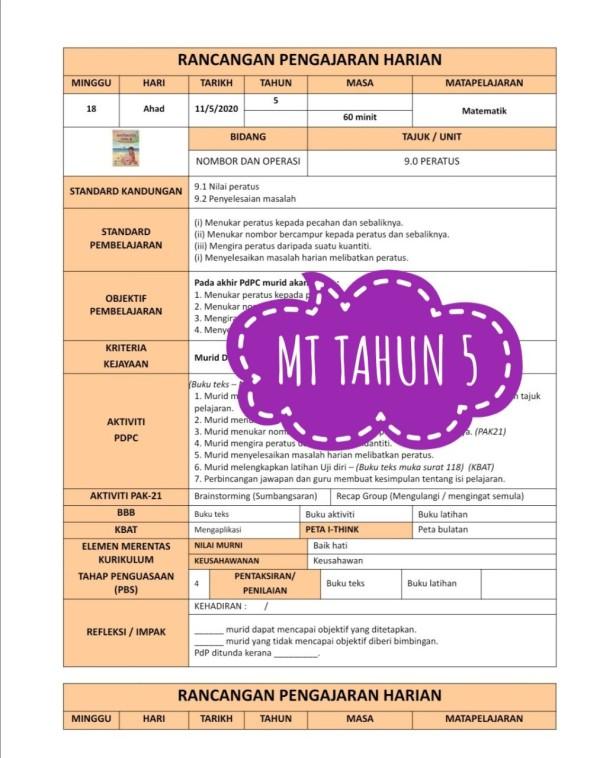 RPH MATEMATIK TAHUN 5 - RPH PAK-21 Sekolah Rendah