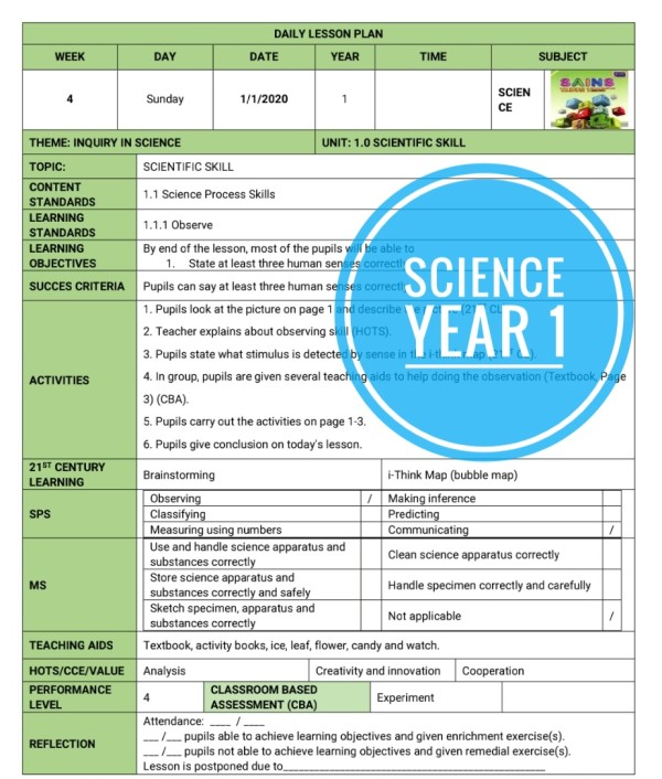 RPH SCIENCE YEAR 1 (DLP)  - RPH PAK-21 Sekolah Rendah