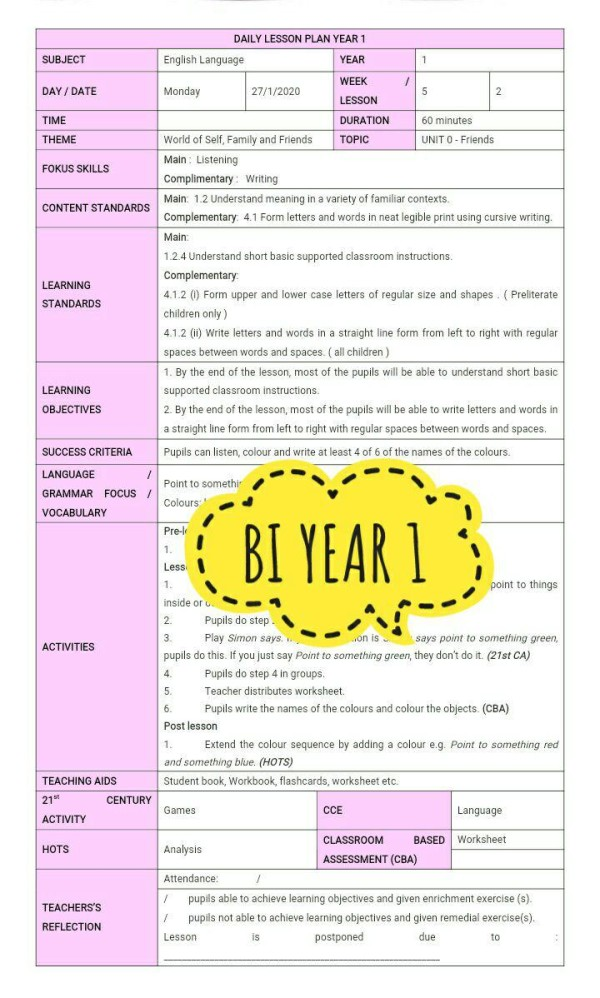 RPH BAHASA INGGERIS TAHUN 1 - RPH PAK-21 Sekolah Rendah